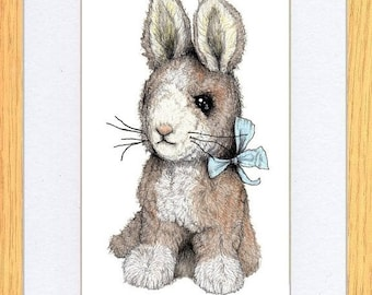 Bunny Rabbit with Blue Bow Skirt Art print by Kevin Wood