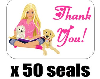 """50 Barbie Thank You Envelope Seals / Labels / Stickers, 1"""" by 1.5"""""""