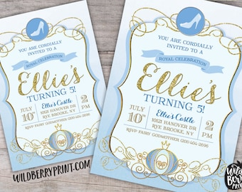 Cinderella Royal Ball Birthday Party Invitation with Free Shipping or Personalized Printable | Blue Gold