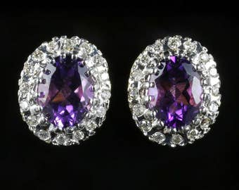 Amethyst Diamond Cluster Earrings 9ct Gold