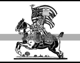 Instant Digital Download, Antique Edwardian Graphic, Rider Declaring Independence, Flag, Horse, Printable Image, Americana, July Fourth, 4th