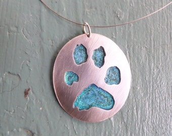 Silver Paw Print Pendant with Copper Patina Back