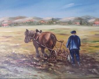 Ploughing: huile-labours-cheval-de-trait-paysage-travaux-des-champs,art Al figurative, original painting-painting, interior decor gift