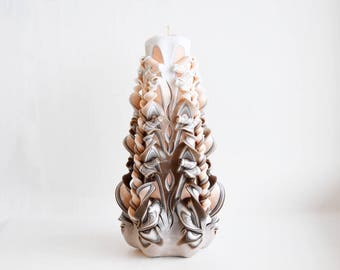 Knowing the candle-manual work-brown peach color-carved candles a unique gift-interior candles-Beautiful candles-present