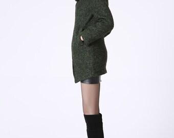 asymmetrical coat, asymmetrical wool coat, winter coat, short coat, Wool Coat, winter coat, hooded coat, womens coat, womens coats (1056)