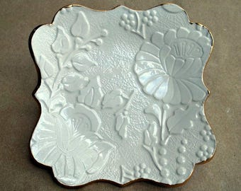 OFF WHITE Damask jewelry dish trinket dish edged in gold