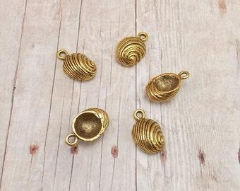 Set of 5 Gold Pewter Charms - Snail Shells - Sea Shells - Seashells