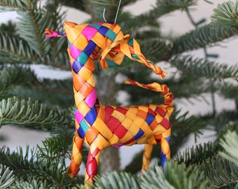 Borrego Cimarron Woven Ornaments-Christmas-Handmade-Palm Leaf-Boho-Fiesta-Christmas Tree-South West-Texas-Folk Art-Frida Kahlo-Folklorico