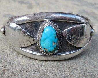 Turquoise Silver Cuff,Native American Jewelry,Turquoise Silver Bracelet,Large Turquoise Bracelet,Vintage Navajo Turquoise, Native American