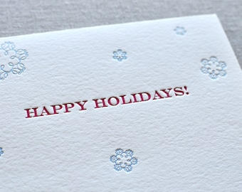 Happy Holidays Snowflake Letterpress Card & Envelope