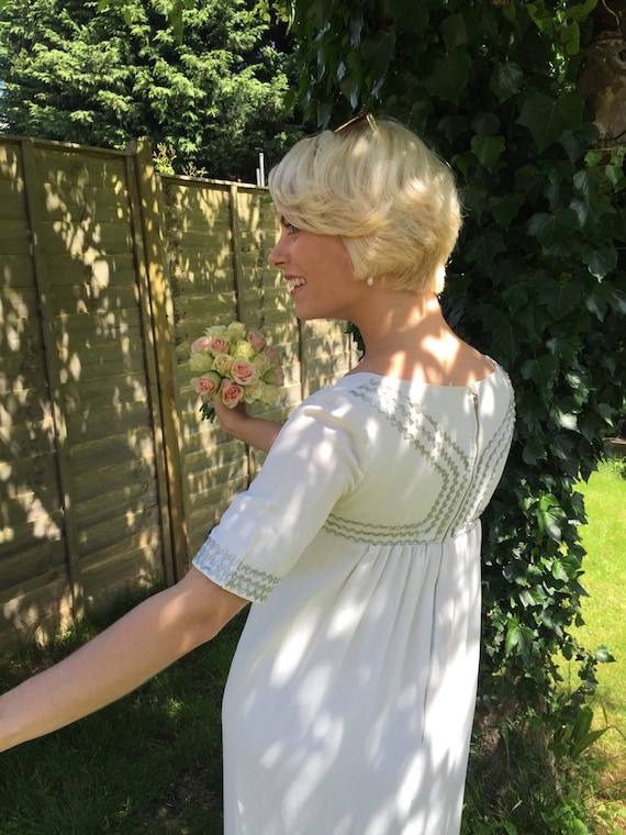 1960s vintage wedding dress babydoll crepe gown silver ric rac Grecian style Mod Scooter girl GoGo bride