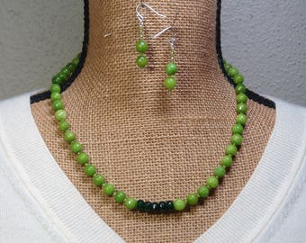 Natural Genuine Earth Mined 239.00 Carats Peridot and Emerald Gemstone, 925 Silver Necklace and Earrings