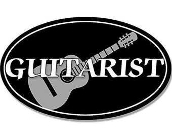 Oval Guitarist Sticker (Guitar Decal Band Music Musician)
