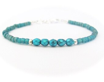 Blue Pearl Bracelet, Friendship Bracelet, Petite Glass Beads, Bridesmaid Bracelets, Dark Aqua Blue Bracelet, Stocking Stuffer, Gift for Girl