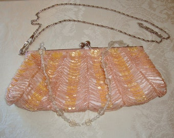 Vintage Pink Beaded Clutch, Randolph Duke The Look Luxe Shoulder Bag, Sequined