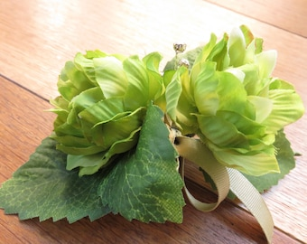 Green Hops Flower Corsage, Weddings, Proms and Events.