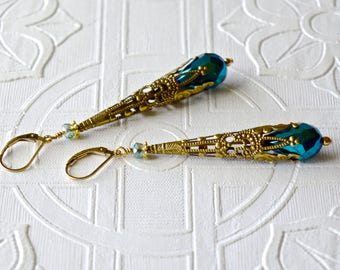Victorian Art Nouveau Boho Earrings TEAL Teardrop Filigree Tussie Mussie 14kt Gold Filled Woman's Birthday Anniversary Romantic Gift for Her