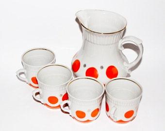 Red white polka dot vintage porcelain milk pitcher porcelain cup polka dot kitchen vintage milk jug drinking set vintage milk rustic cottage
