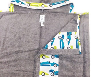 Race Car Hooded Towel Gray Aqua