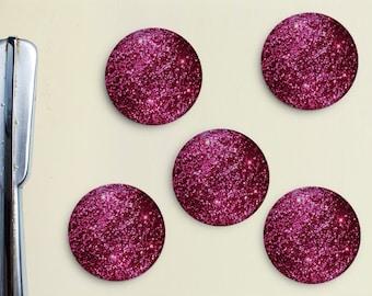 Glitter Magnets - Pink, Magenta, Mauve, Girly, Office, Organization, Home Office, Refrigerator, Fridge, Glitzy, Locker Magnet, Organize
