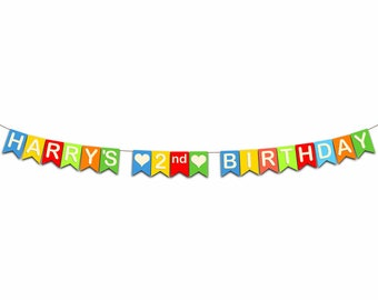 2nd Birthday Bunting.  These bright festive pennants will add to your celebration