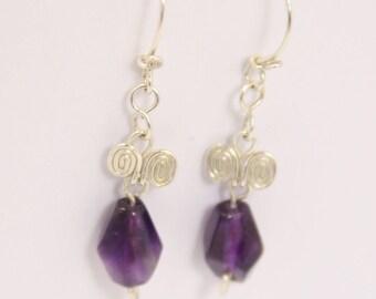 Amethyst - 925 Sterling Silver Earring