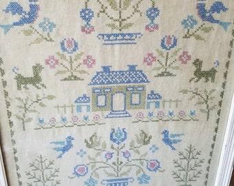 Wall Decoration Cross Stitch Sampler / Needlework / Green House Sampler