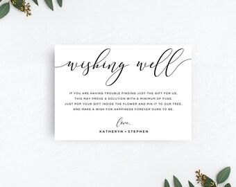 Wishing Well Cards, Wedding Wishing Well Cards, Wishing Well Poems, Calligraphy Script Wishing Well Card Template, DIY Wishing Well Cards