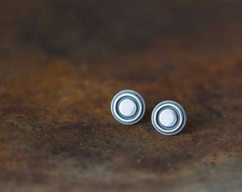 Bigger 9.6mm Target Bullseye Studs, Sterling Silver Stud Earrings, black target earrings, contemporary metalwork round studs for man, woman