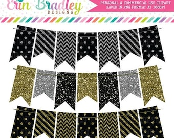 80% OFF SALE Glitter Bunting Clipart Set Black Gold and Silver Glitter Banners Clip Art Graphics Personal & Commercial Use