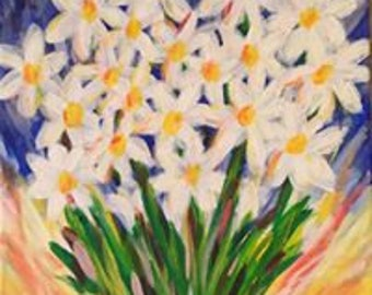 Daisies on canvas