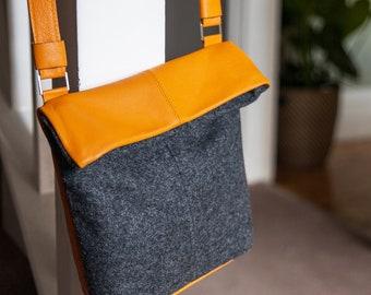Small Leather & Fabric Foldover Cross Body Bag - Leather Bag  - Foldover Bag - Cross Body Bag - Leatherwork - Handmade Bag - Handbag