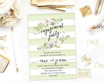 Engagement Party Invitation - Green and White Stripes - Magnolia - Rustic Invitation - 5x7 Printable Invitation