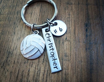 Hand Stamped Personalized Volleyball Keychain - Girls Volleyball Gift - Volleyball Team Gifts - Volleyball Gifts - Senior Night Gift