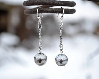 Hematite earrings, Silver hematite earrings, French hook hematite earrings, Silver earrings hematite, Hematite drop earrings, Hematite gift.