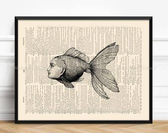 Sea Creature, Little Goldfish, Mystery Wall Art, Ocean Fish Art Print, Funny Home Print, Funny Animal Poster, Surreal Boy Gift, Beach  086