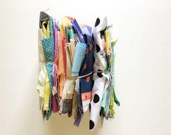 designer fabric scraps, pound of scraps, quilt scraps, scrap bundle, scrap pack, grab bag, patchwork scraps, designer quilting cotton