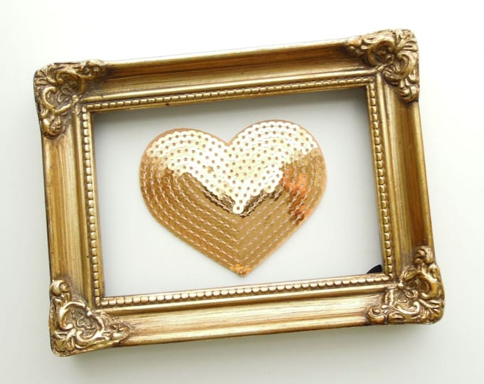Gold heart iron patch, Golden sequin heart iron on applique, Sequined iron on patch, Heart patch, Sequined golden heart, Iron on patch