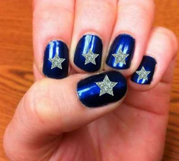 Nail decals, Christmas nail decals, silver star nails, gold glitter ...