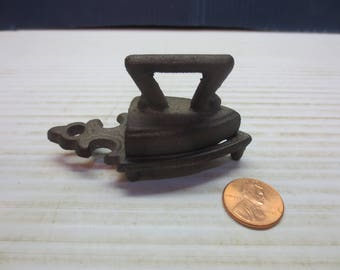 Teeny-Tiny Miniature Toy Cast Iron Sad Iron with Trivet, marked EMIG