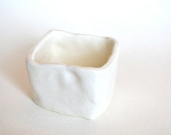 White Ceramic Hand Built Salt Cellar