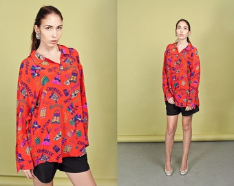 80s Red Silk Blouse Vintage Southwestern Silk Native American Print Blouse