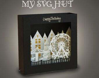 3D SVG PDF Fun Fair theme Box card DIGITAL download