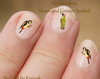Specht Nail Art, Bird Nail Art Stickers, specht vingernagel stickers, bonte specht, groene specht, vogels, stickers,