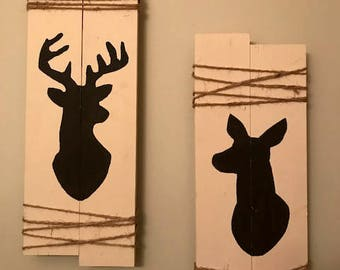 Rustic Doe and Buck Wall Decor