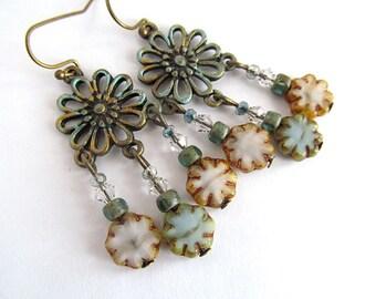 Shabby Chic Earrings, Chandelier Earrings, Daisy Earrings, Country Cottage, Bohemian Earrings, FTD Awareness