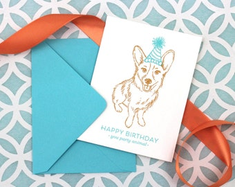 Corgi Birthday Card // Party Animal // Letterpress Card