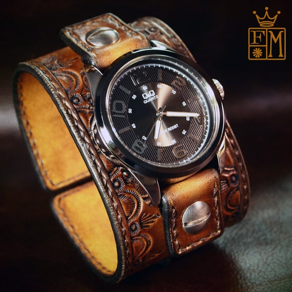 Leather cuff Watch Vintage sunburst leather watchband - handstitched brown leather watch band Made for YOU in New York by Freddie Matara