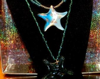 Elegant Starfish and Emerald Starfish Necklaces