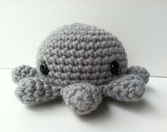 Amigurumi Crochet Gray Octopus Plush Toy Kawaii Plush Octopus Gift Under 25 Octopus Plushie Stuffed Animal Octopus Mini Plush Octopus